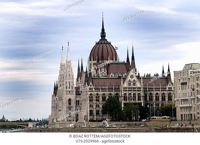 The beautiful Hungarian parliament building in Budapest, Hungary
