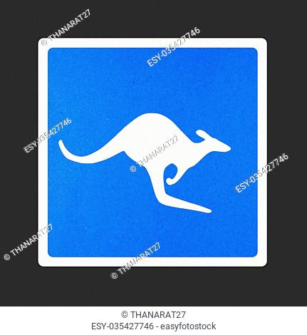 Kangaroo traffic sign recycled paper on white background