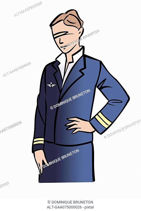 Illustration of a female pilot or flight attendant