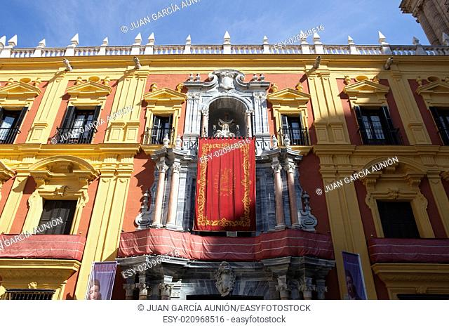 Front view of Episcopal palace of Malaga, Spain