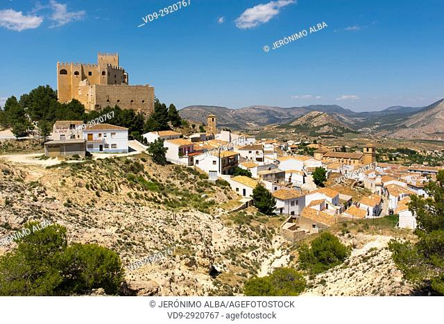 Moorish castle and village of Velez Blanco. Almeria province, Andalusia, Southern Spain Europe