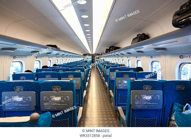 Interior of a carriage on a Shinkansen Bullet Train travelling from Tokyo to Hiroshima, Japan