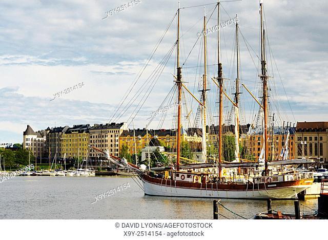 Helsinki, Finland. Sailing ships in Pohjoissatama Harbour, Helsinki