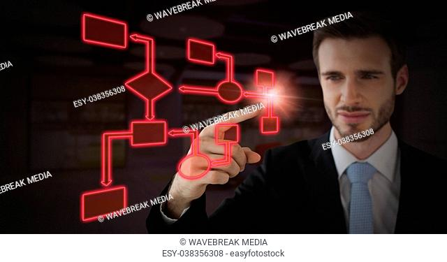 Man's Hand touching red wireframe