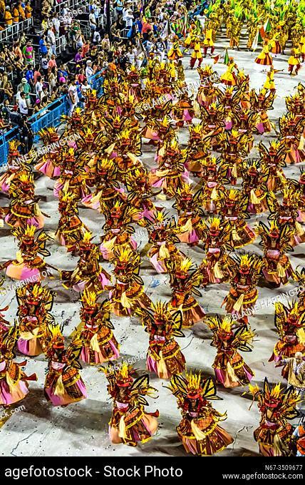 Carnaval parade of Grande Rio samba school in the Sambadrome, Rio de Janeiro, Brazil