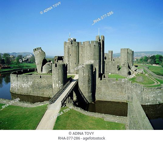Caerphilly Castle, Glamorgan, Wales, UK, Europe