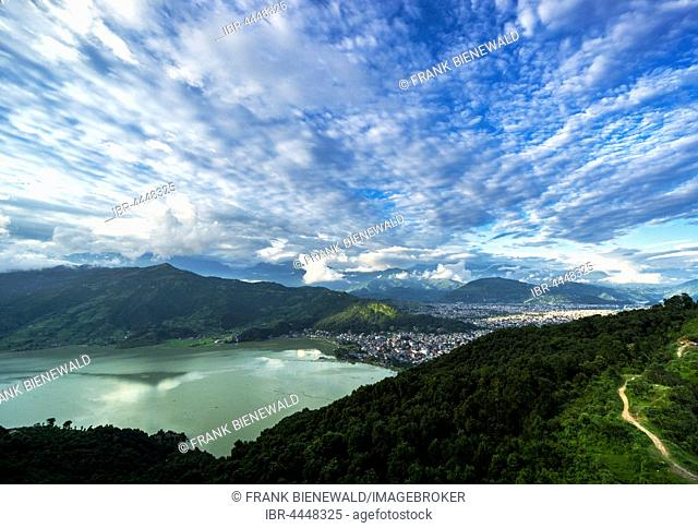 View on the city and the Phewa Lake, Pokhara, Kaski District, Nepal
