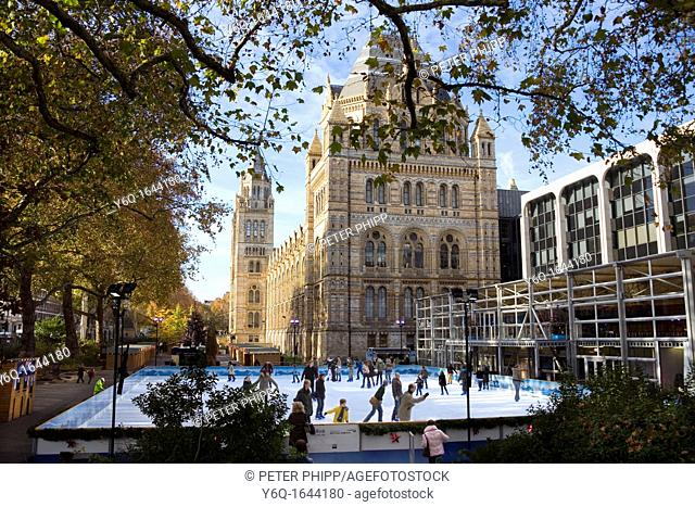 The Xmas Ice Rink at the Natural History Museum London