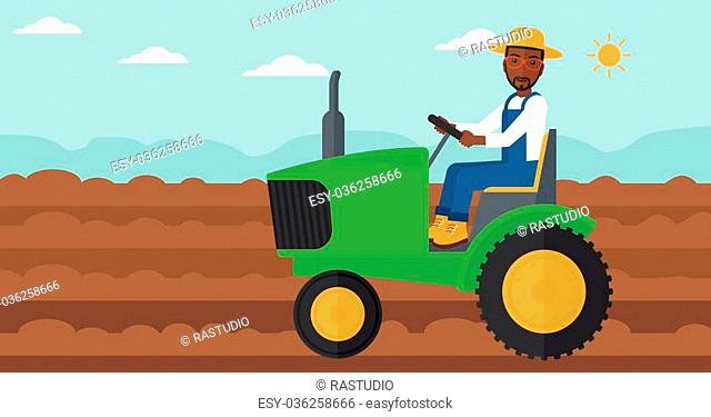 An african-american man driving a tractor on a background of plowed agricultural field vector flat design illustration. Horizontal layout