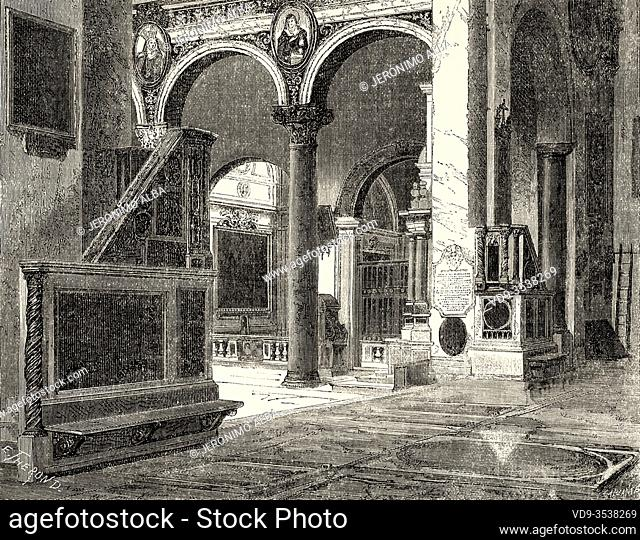 Basilica of Santa Maria in Aracoeli Altar of Heaven, Rome. Italy, Europe. Trip to Rome by Francis Wey 19Th Century