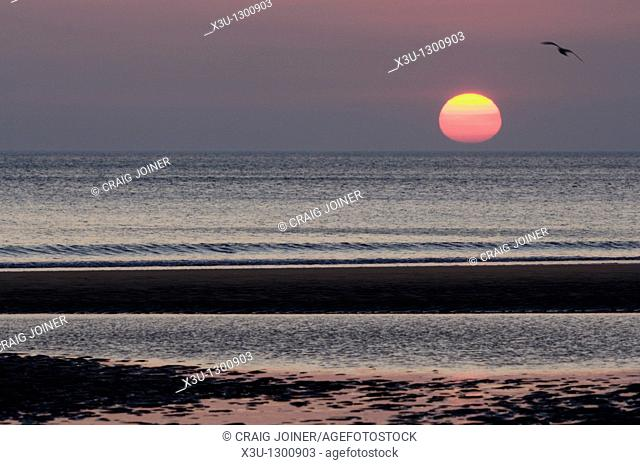 Sunset over Bude Bay from Sandymouth Beach, Cornwall, England, United Kingdom