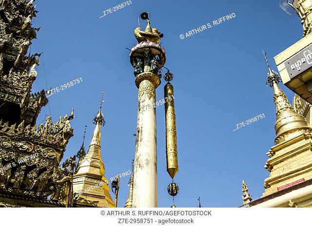 Pillar, Sule Pagoda, Yangon, Myanmar