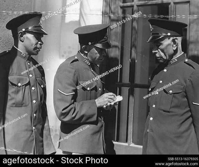 Constable C. Marrinor 1st class constable J. Carroll 1st class constable J. Grovenor police Black Trackers. April 06, 1954