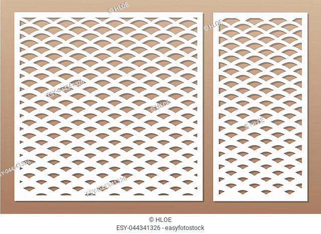 Set decorative card for cutting laser or plotter. Arabic Geometric pattern. Laser cut. Ratio 1:1, 1:2. Vector illustration