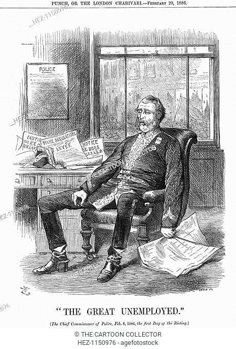 The Great Unemployed, 1886. The Chief Commissioner of Police, Sir E Y Henderson, sits dozing in his chair, surrounded by papers detailing the minor events...