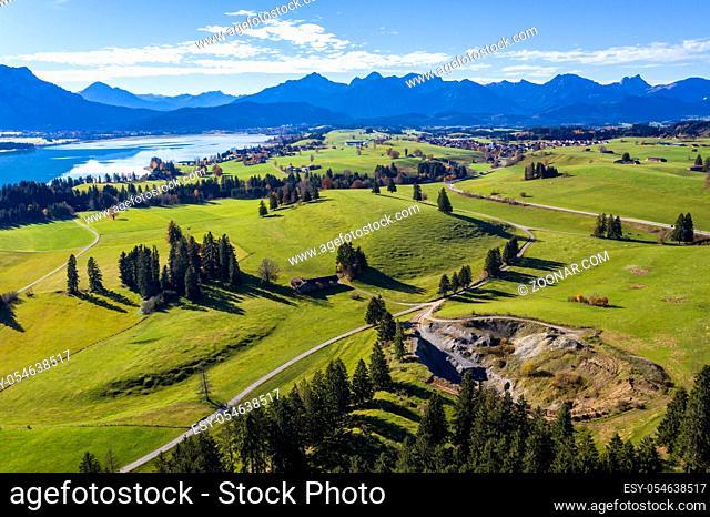 Aerial view, Lake Forggensee, Dietringen, Bavaria, Germany