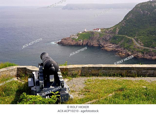 Looking towards Fort Amherst and St John's Bay over a cannon gun from the Queen's Battery at Signal Hill National Historic Site, St John's, St John's Harbour
