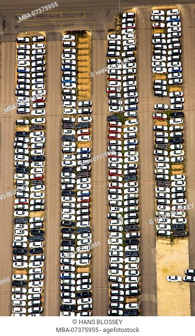 Aerial photo, car park for new cars, BMW new car, Regensburg BMW plant, automotive assembly plant, car factory, Bavarian Motor Works factory, Obertraubling