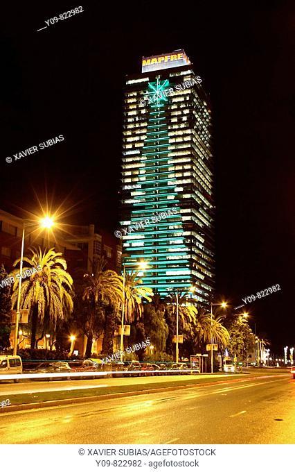 Christmas tree lights on building façade, Mapfre Tower, Carrer Marina, Barcelona. Catalonia, Spain