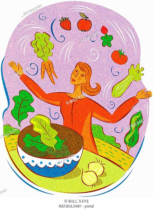 A woman juggling fresh vegetables over a salad bowl