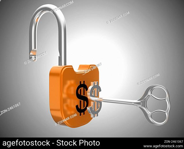 Unlocking the US dollar currency lock. Over grey background