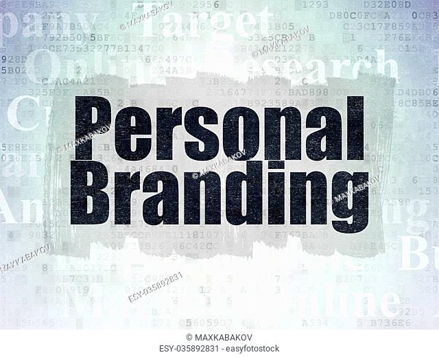 Advertising concept: Personal Branding on Digital Data Paper background