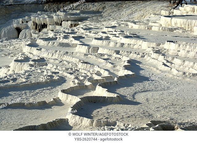 The limestone terasses of Pammukale, Western Anatolia, Turkey