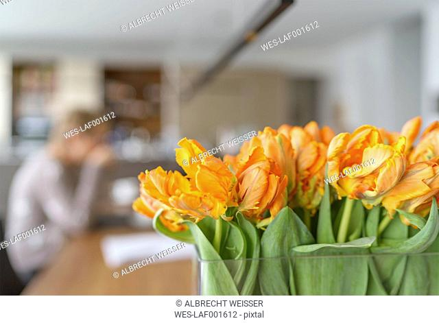 Flower vase of parrot tulips in a modern living room