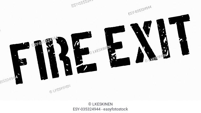 Fire Exit rubber stamp on white. Print, impress, overprint