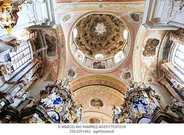 Ceiling and dome, Dominican Church of the Holy Spirit, a monument of high and late Baroque. Vilnius, Vilnius County, Lithuania, Baltic states, Europe