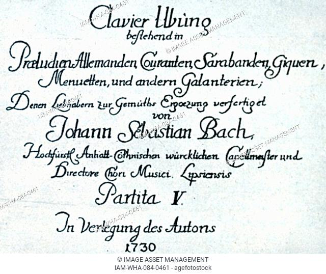 Cover for music by Johann Sebastian Bach (1685-1750) a German composer and musician of the Baroque period. Dated 18th Century