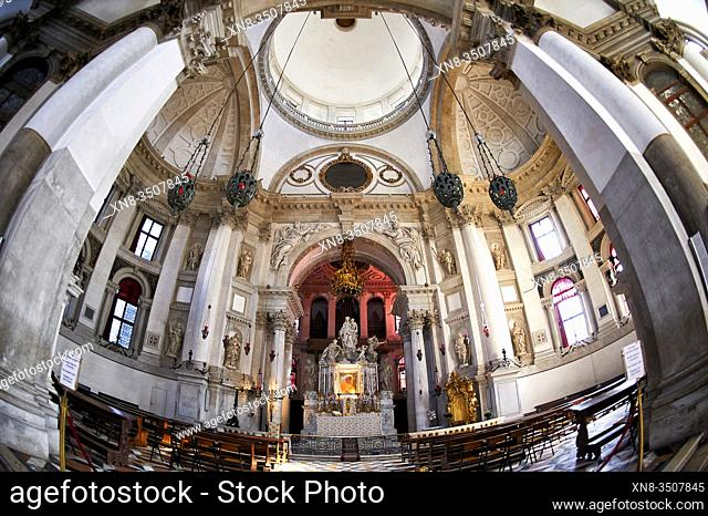 Santa Maria della Salute Church Basilica AltarVenice Italy. Competed in 1681 dedicated to our Lady of Health because of the 1630 outbreak of plague