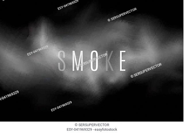 Thick smoke on a transparent dark background. Light steam. Smoke from the fire. Thick cloud. Transparent text. Cover with a smoke effect for your design