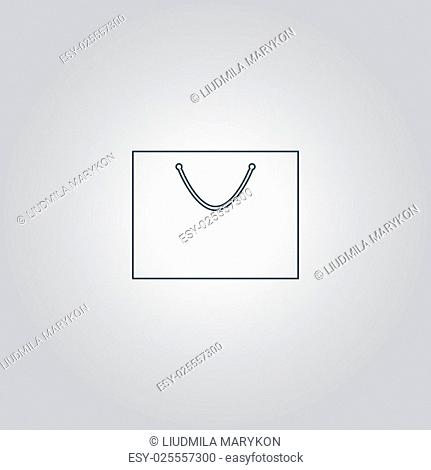 Simple shopping bag. Flat web icon or sign isolated on grey background. Collection modern trend concept design style vector illustration symbol