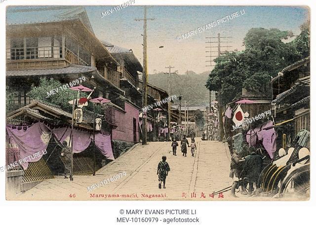 A street scene at Maruyama- machi, Nagasaki, Japan