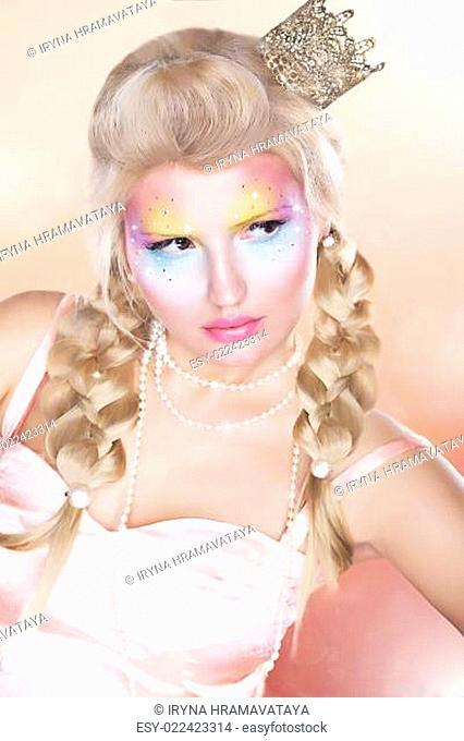 Retro Style. Beautiful Princess - Gold Crown - Blond Braid Hair