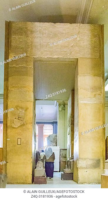 Egypt, Cairo, Egyptian Museum, gate for the heb sed feast of Amenemhat Sobekhotep. From Medamud temple