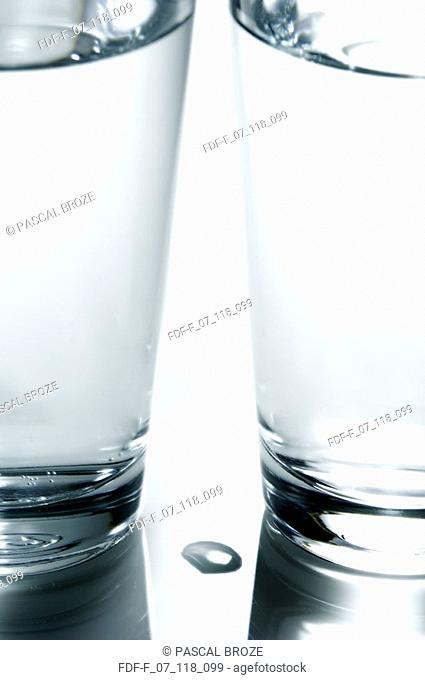 Close-up of two glasses of water