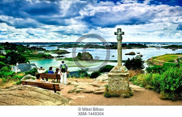 panoramic coast view from St  Michel chapel  Brehat island, Côtes-d'Armor, in northern Brittany, France