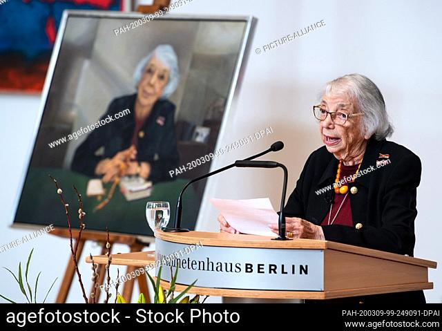 09 March 2020, Berlin: Margot Friedländer speaks at the ceremonial unveiling of her portrait of honorary citizen in the Berlin House of Representatives