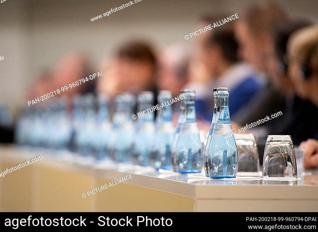 18 February 2020, Baden-Wuerttemberg, Stuttgart: Mineral water bottles from Mineralbrunnen Teinach GmbH stand on a table during a press conference of Daimler...