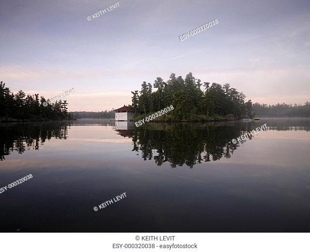 Lake of the Woods, Ontario, Canada, Boathouse on an island