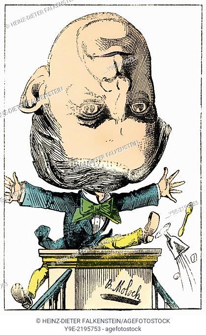 Henri-Edmond-Pierre Dufaur de GAVARDIE, 1823 - 1910, a French politican, Political caricature, 1882, by Alphonse Hector Colomb pseudonym B