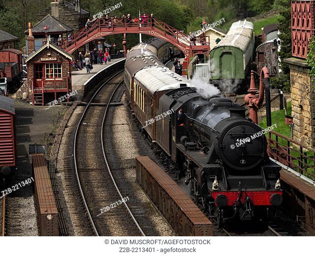 Vintage steam engine locomotive at Goathland station, North Yorkshire Moors Railway, on the North Yorkshire Moors, Yorkshire, UK