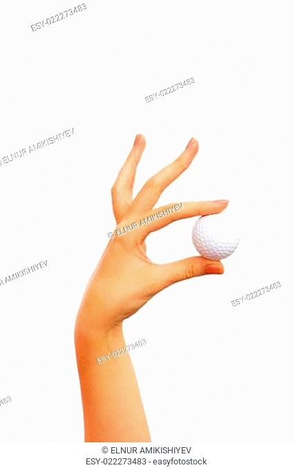 Hand holding golf ball isolated on the white