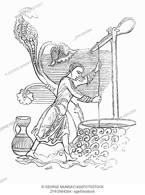 Using basic Anglo Saxon technology, a woman raising water from a well with a loaded lever in 9th Century England