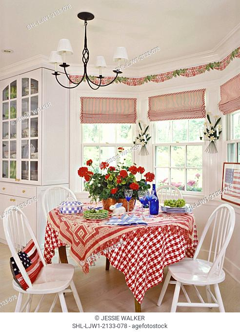EATING AREAS : kitchen dining area,. Red/white striped shades, molding, wallpaper border of swaged fabric and ivy, candle wall sconces between windows