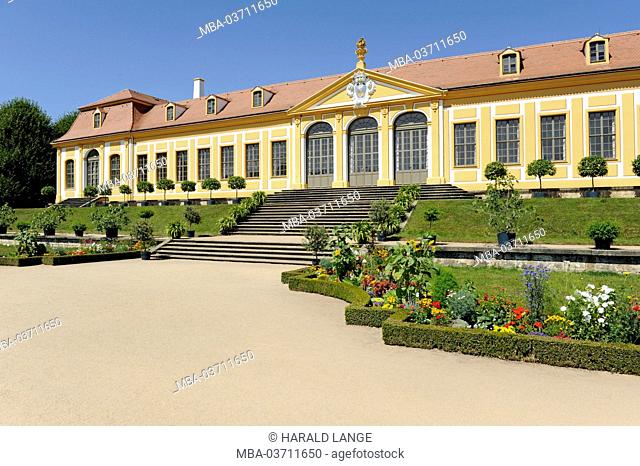 Upper Orangery in the Großsedlitz Baroque Garden with little orange tree as tub plants and coloured border of planting