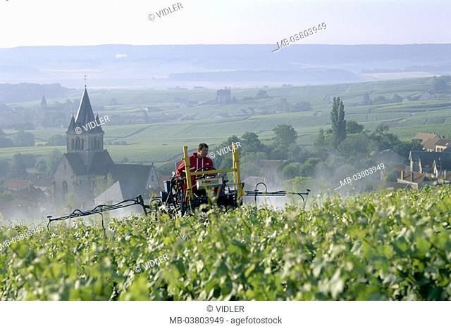 France, Champagne, draws near rhyme,  Vineyard, wine-growers, tractor,  Pesticide  Europe, wine region, landscape, wideness, tower, wine-growing area, economy