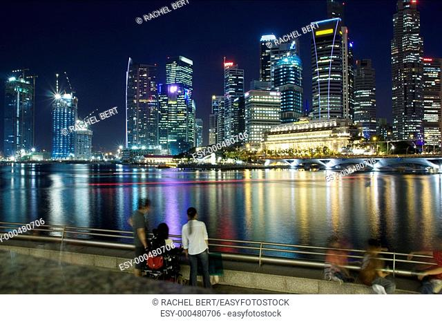 Sight of the financial district from Marina Bay, Singapore, Asia